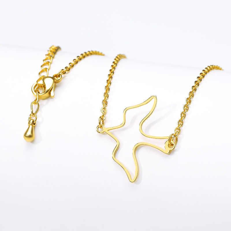 Collier de colombe paisible doux minimaliste pour les femmes bonne chance porte-bonheur bijoux en acier inoxydable Collier d'oiseau volant Collier Bff