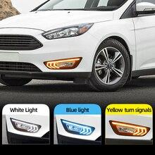 سيارة وامض 2 قطعة لفورد فوكس 3 mk3 2015 2016 2017 2018 LED DRL النهار تشغيل أضواء النهار مع الأصفر إشارة الضباب مصباح
