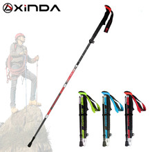 XINDA PJ12 M-Pole Folding Ultralight Quick Lock Trekking Poles Hiking Pole Race Running Walking Stick Carbon Fiber