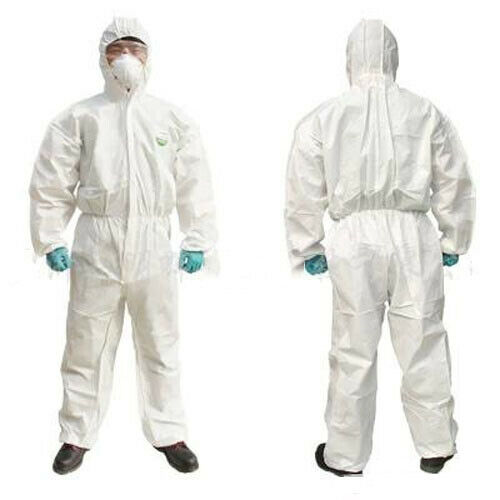 Disposable White Coveralls Painters Protective Overall Boiler Suit Hood Lab Coat Workshop Safety Suit