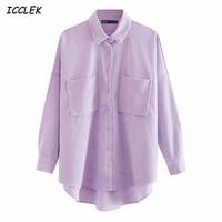 Blusa holgada de manga larga con bolsillos para Mujer, camisa de pana, Estilo Vintage, color morado, a la moda