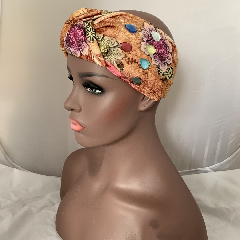 Rhinestone Headband Girl Luxury Crystal Hair Band Muslim Turban Hair Accessory Hand Made Gift Bohemia Style