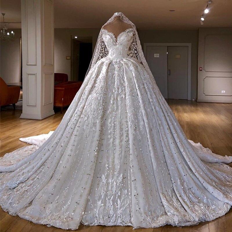 Robes De Novia luxe perlée a-ligne robe De mariée chérie dentelle Appliques robes De mariée faites à la main robe De mariée