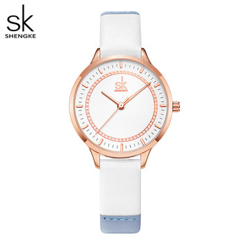 Shengke Splicing Strap Band Women Watch Classical Leather Wristwatch for Reloj Mujer Simple Fashion Ladies - discount item  90% OFF Women's Watches