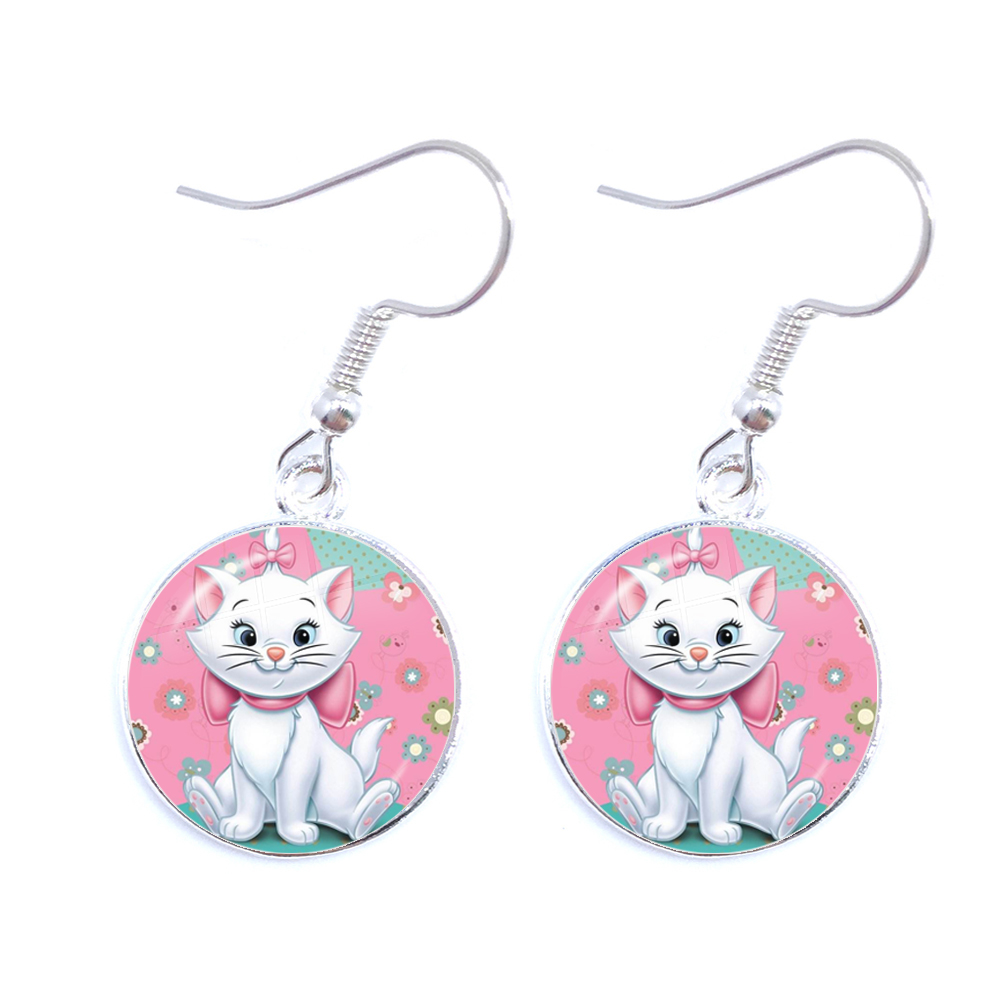 The Aristocats Glass Cabochon Drop Earrings Cute Women Jewelry Marie Cat Anime Cartoon Fashion Earrings For WomeN Girls Gift