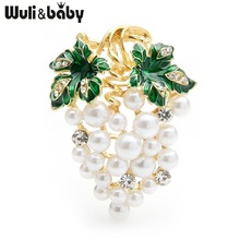 Wuli&baby Enamel Full White Pearl Grape Brooches Women Alloy Weddings Banquet Brooch Pins Gifts