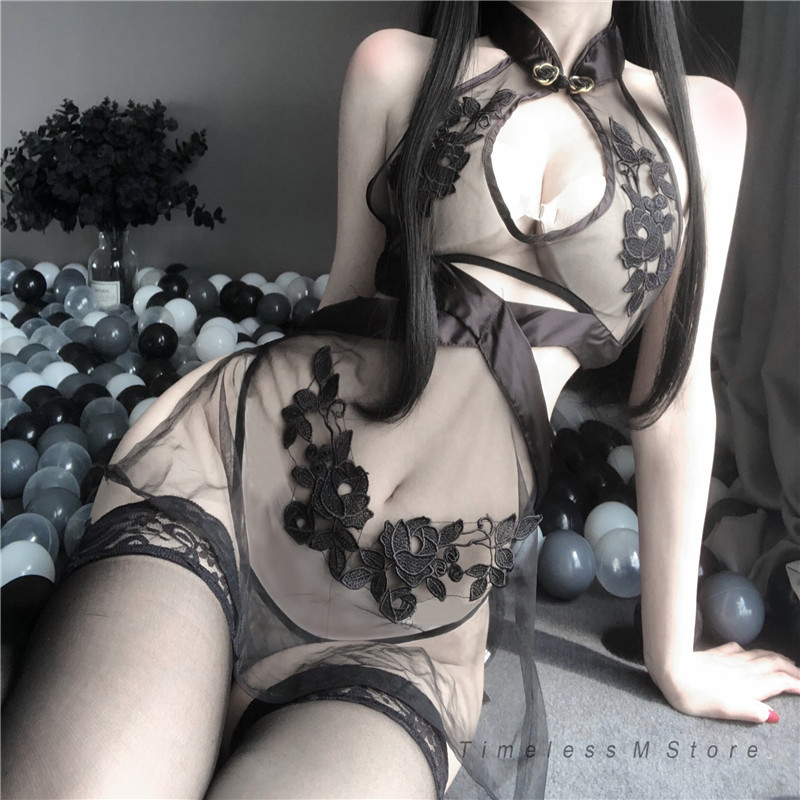 Womens Lingerie See Through Cosplay Costumes Classic Cheongsam Flower Pattern Anime Sexy Outfit Erotic Night Wear Lace Sleepwear
