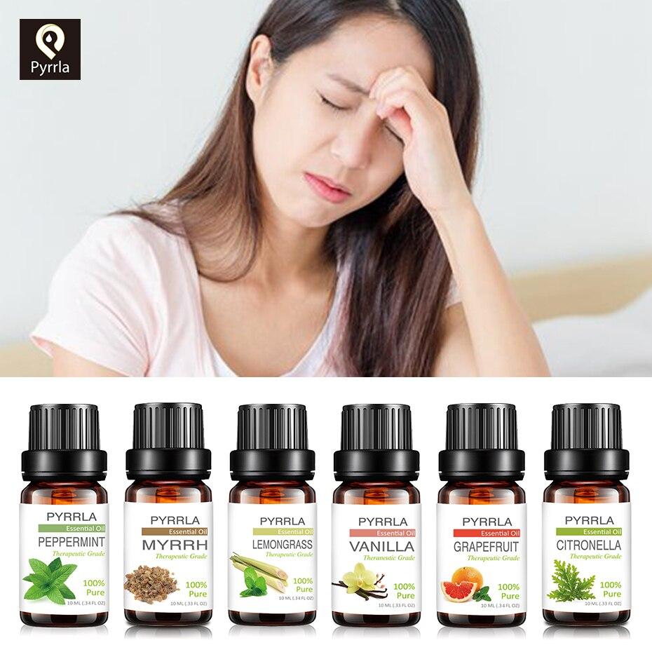 Pyrrla 10ML Pure Essential Oils Eliminate Sleepiness Humidifier Aroma Lamp Tangerine Ginger Rosemary Vanilla Myrrh Massage Oil