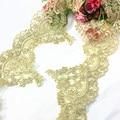 5 ярдов/партия, Европейское Золотое Платье для танцев с кружевной отделкой, женская одежда, украшение, вышитая цветочная ткань, свадебные ак...