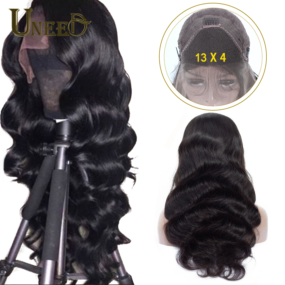 Uneed Body Wave 13x4 Lace Front Human Hair Wigs For Women Pre Plucked Peruvian Remy Hair Wigs Bleached Knots Baby Hair-in Human Hair Lace Wigs from Hair Extensions & Wigs
