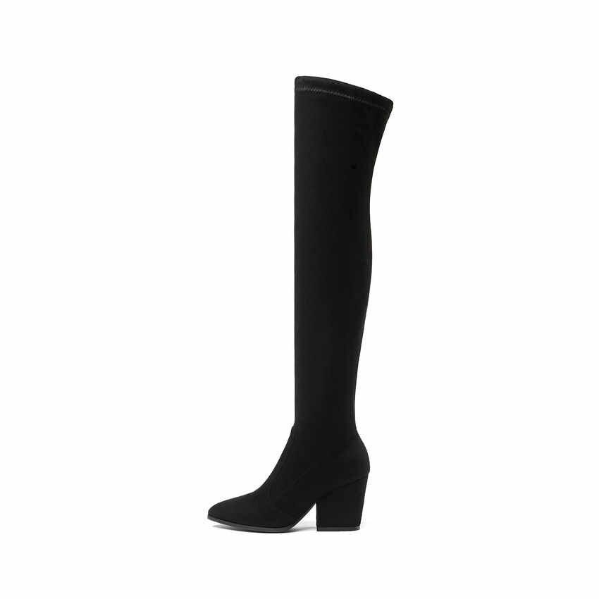 QUTAA 2020 kadın diz üzerinde yüksek çizmeler toynak topuklu kış ayakkabı sivri burun seksi elastik kumaş kadın botları boyutu 34-43