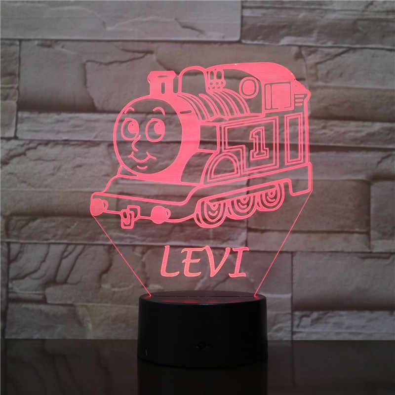 만화 levi 탱크 엔진 토마스와 친구 장식 조명 장식 아기 nightlight 침실 머리맡 아이 3d led 야간 조명 2739