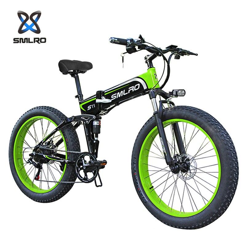 SMLRO S11F2 26 Inch Spoke Wheel Electric Fat Bikes 1000W 48V 13AH Bicycle Ebike Offroad Mountain E Bike Foldable Motorcycle Mtb
