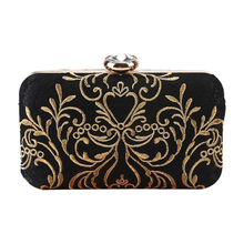Clutch-Bag Chain Embroidery Purse Party-Shoulder Elegant Black Female Fashion with Box