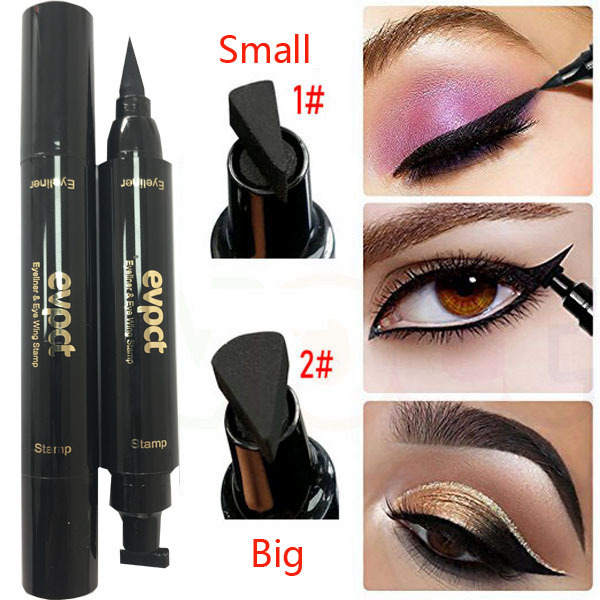 Evpct Long Lasting Waterproof Double Head Wing Shape Liquid Eyeliner Seal Stamp Pencil Cat Eye Eye Liner Makeup Tool Maquiagem image