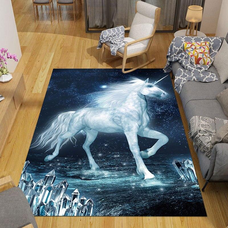 Bedroom Carpet Floor Mats Children's Room Cartoon Unicorn Full Bed Blanket Rugs And Carpets For Home Living Room Area Rug