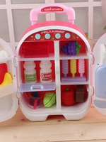 Kitchen Refrigerator Play House Door Opening Children Model Double Toy Bar Travel Refrigerator GIRL'S Small Ling Door Opening La