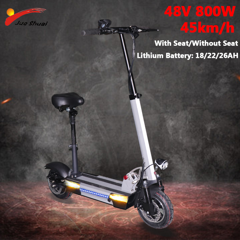 48V 800W Long distance <font><b>Electric</b></font> <font><b>Scooter</b></font> 10inch <font><b>Motor</b></font> <font><b>Wheel</b></font> lithium Battery Adult kick e <font><b>scooter</b></font> folding <font><b>scooter</b></font> electrico adulto image