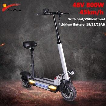 Patinete eléctrico de larga distancia para adultos, 48V, 800W, Motor de 10 pulgadas, batería para rueda de litio