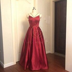 Image 2 - Lila Lange Satin Abendkleider 2020 Spaghetti Strap Hohe Split EINE Linie Sleeveless V ausschnitt Formale Abendkleid Spaziergang neben sie
