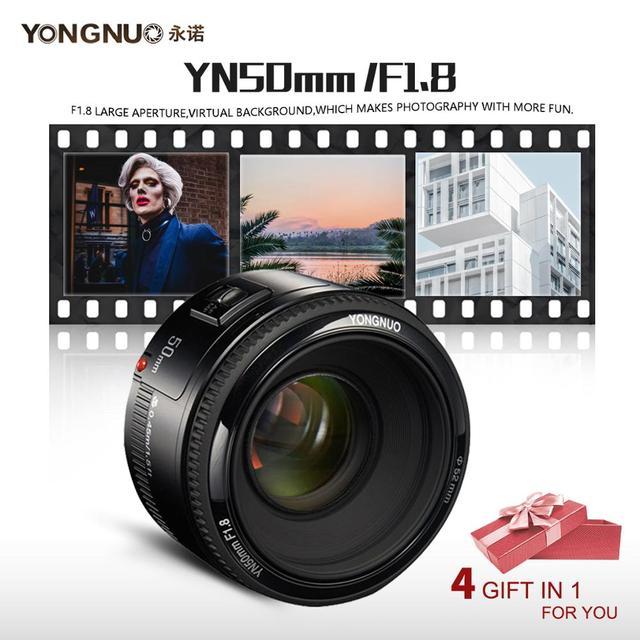 YONGNUO YN50mm F1.8 فتحة كبيرة السيارات عدسات تركيز DSLR كاميرا عدسات لكاميرات كانون لنيكون D800 D300 D700 D3200 D3300 D5100