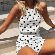 Forefair ผู้หญิง Overalls Polka Dot Off Shoulder Jumpsuit หญิงฤดูร้อน Casual Halter Backless ชีฟองสีขาวเซ็กซี่ Jumpsuit(China)