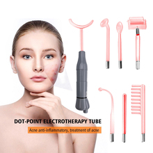 Red 7 IN 1 high frequency electrotherapy Beauty ray wand electrodes, violet ray magic wand massager ,  Spot Acne Remover