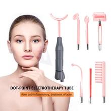 Red 7 en 1 electrodos de varita de rayos de belleza de electroterapia de alta frecuencia, masajeador de varita mágica de Rayo Violeta, removedor de acné de punto