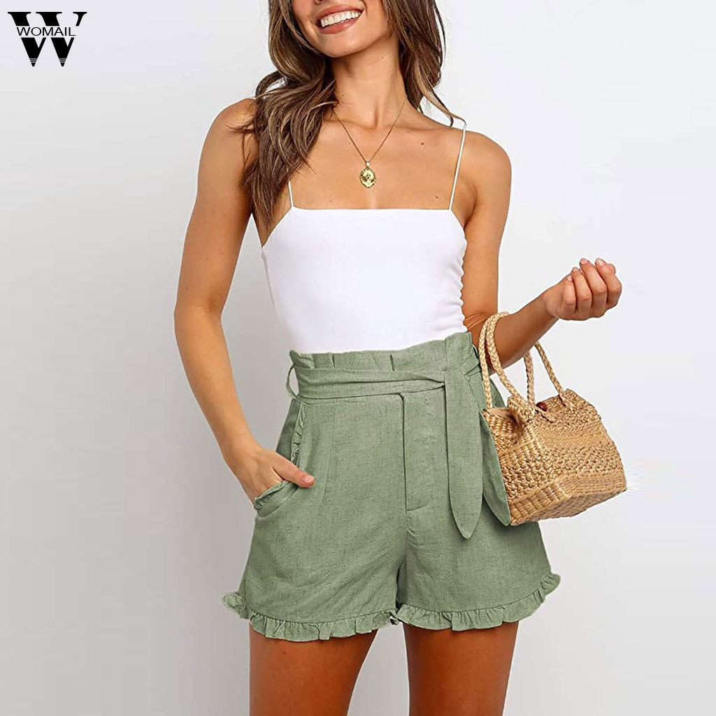 Womail Shorts Women 2020 Summer Casual Ladies Buttom Bandage Short Women Belted Short Pocket Loose High Waist Ruffle Short Beach