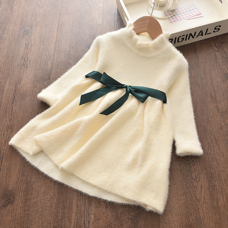Bear Leader Long Sleeve Sweater Dress Girls Princess Baby Girl Clothes Sweet Tutu Party Dresses Christmas Little Girl Clothes
