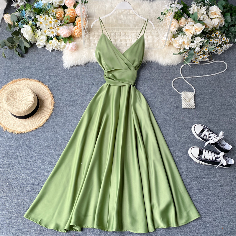 Boho Slim V Neck Summer bandage backless Maxi Long Dress Women Casual spaghetti strap Party Beach Holiday elegant tunic dress|Dresses| - AliExpress