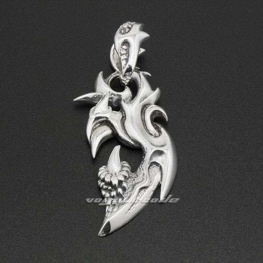 Dragon Claw 925 Sterling Silver  Mens Biker Rocker Punk Pendant 8A018(Necklace 26inch)