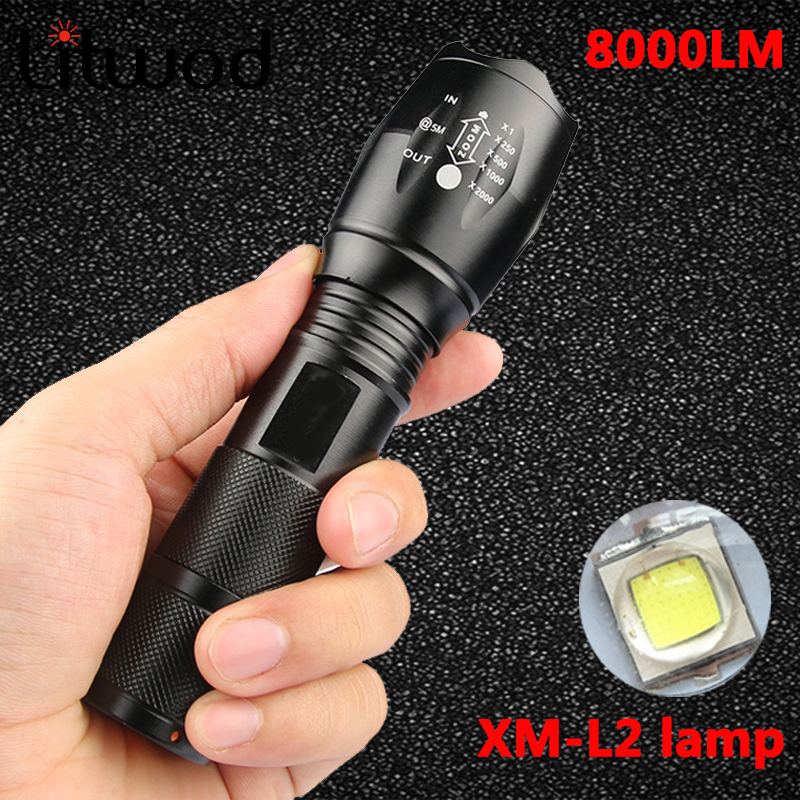 Litwod Z50 XML L2 8000LM Lantern LED Flashlight Torch Waterproof Lantern 5 Modes Zoom For Camping Light Portable Tactical Light