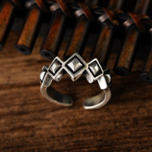 925 sterling silver retro Thai silver opening irregular diamond trend hip-hop ring