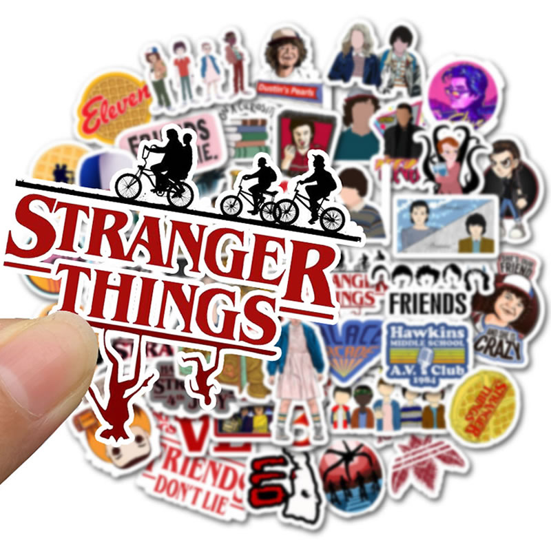 50pcs Pack Stranger Things Laptop Stickers Waterproof PVC Skateboard Suitcase Snowboard Motorcycle Guitar Sticker Classic Toy