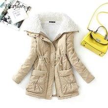 Fitaylor de algodón de invierno mujer delgada capa de nieve prendas de vestir-acolchada Chaqueta larga de algodón grueso acolchado Parkas de algodón cálidas