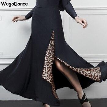 New Women Ballroom Dancing Split Performances Leopard Print Modern Dance Skirts