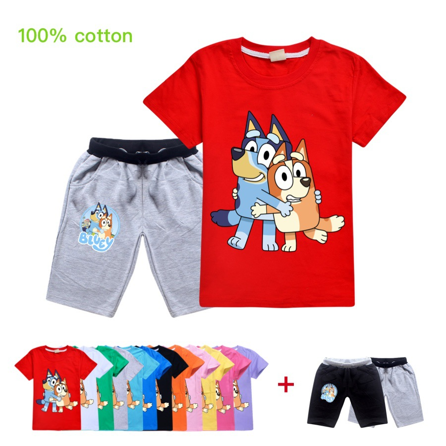 Cartoon Bingo Blue <font><b>Dog</b></font> Printing Girls Clothing Set For Boys <font><b>Tshirt</b></font>+Shorts 2Pcs 2020 Summer Kids Children Clothing Suits image