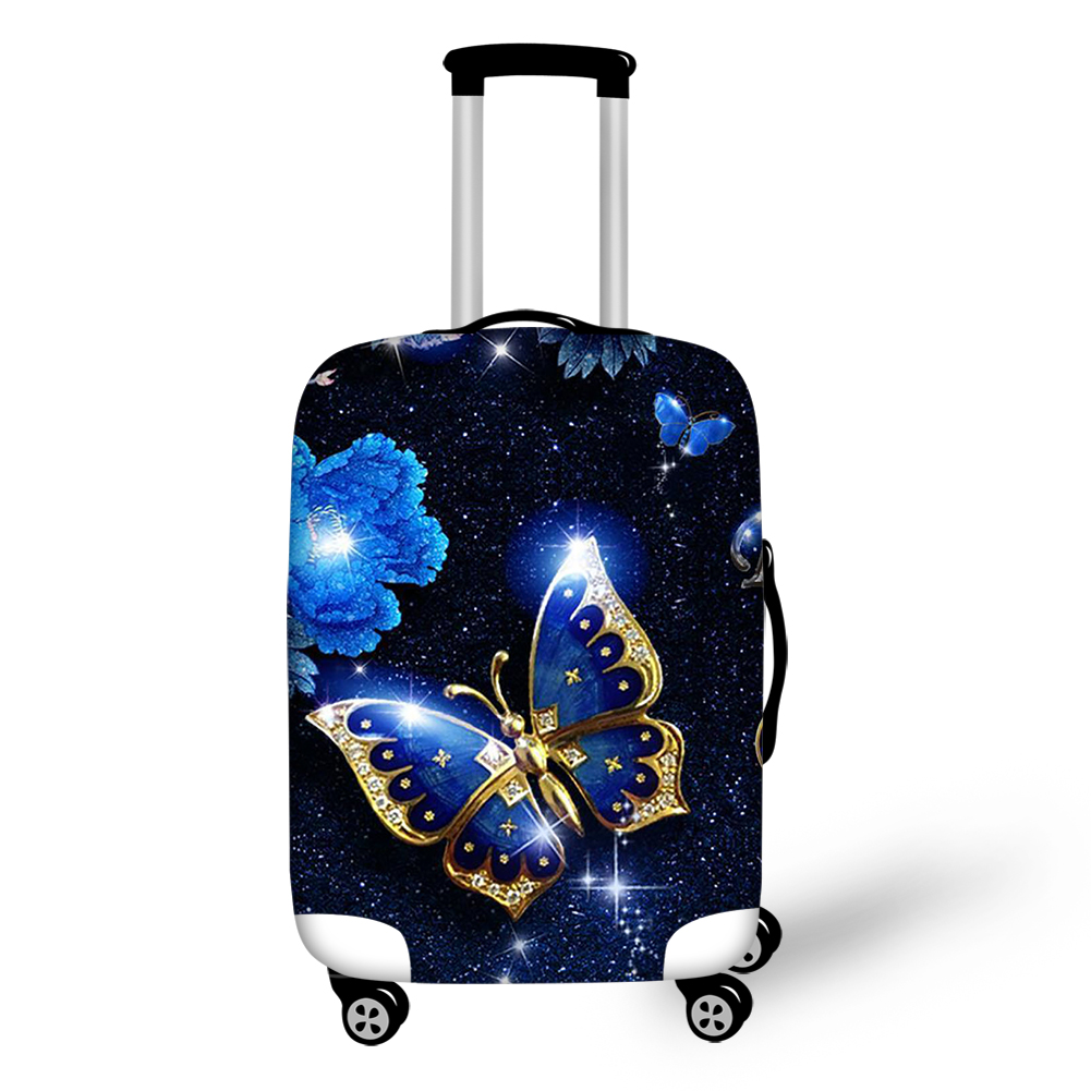 THIKIN Beauty Blue Butterfly Print Women Travel Accessories Cases For Students Girls Suitcases Protective Dust Luggage Covers