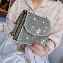 Diamante quadrado saco 2020 verão moda nova alta qualidade couro do plutônio feminino designer bolsa de bloqueio corrente ombro mensageiro baga #52