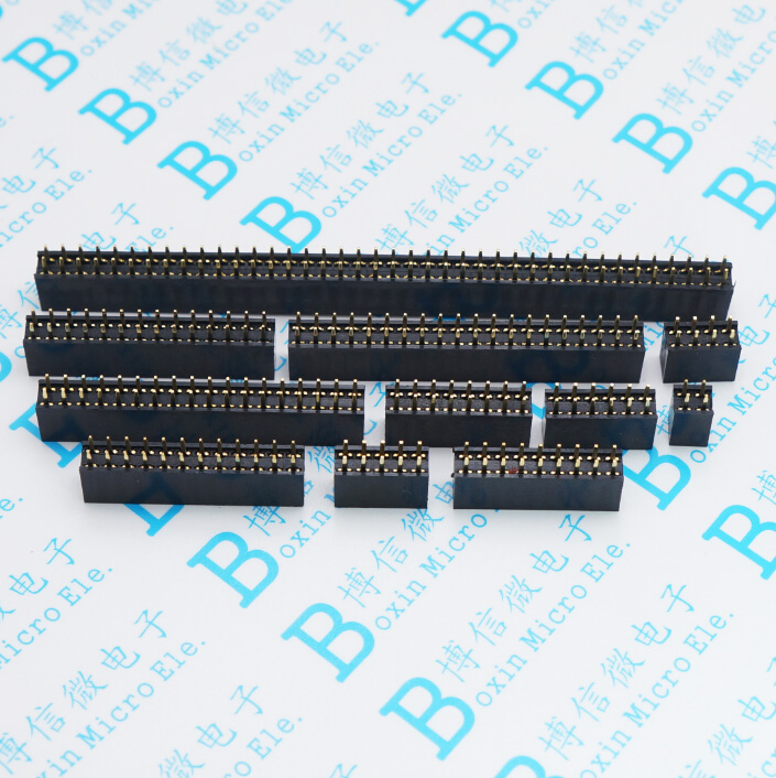 10pcs 2.54mm Double Row Straight Female 2-40P Pin Header Socket Connector 2x2/3/4/5/6/7/8/9/10/12/14/16/18/20/25/30/40Pin