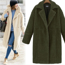 long sleeve turn down collar female long coat new style solid cashmere long woman coats winter wide waist