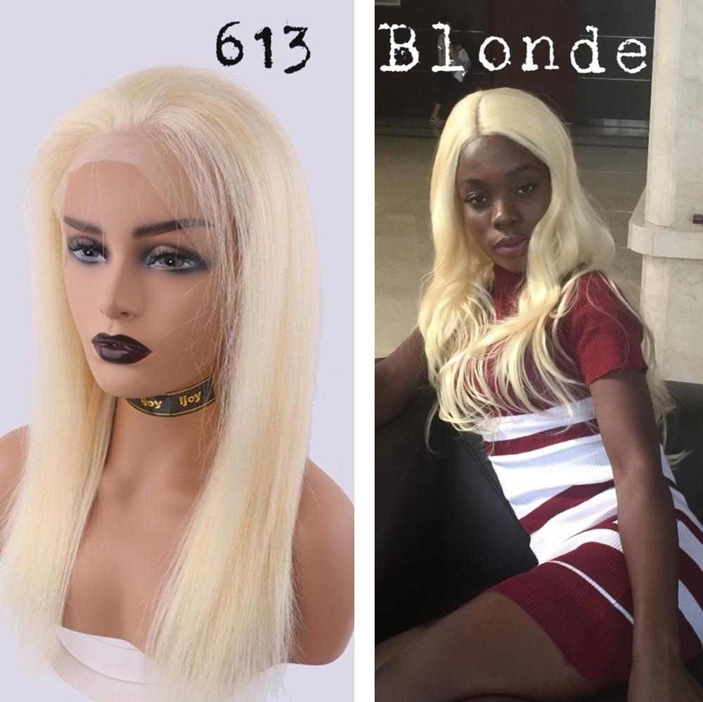 Human Hair Wigs Straight 13×4 Lace Front 18''-28'' 150% #613 Platinum Blonde Non-Remy Brazilian Hair IJOY