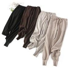 BYGOUBY נשים אלסטי מותניים שרוך מכנסיים עבה סרוג הרמון מכנסיים סתיו חורף ספורט נשבע נשים מכנסיים החדש Bottoms