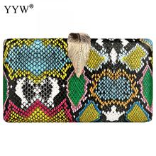 YYW Clutch Women Bag With Crossbody Shoulder Purse Fashion Snakeskin Pattern Sac A Main 2019 Multi Color Female Party Clutch Bag