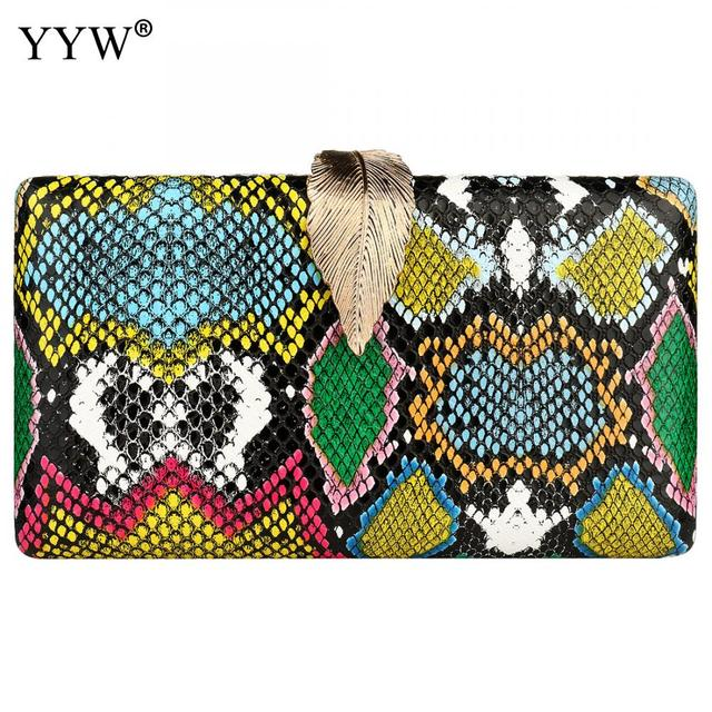 YYW مخلب المرأة حقيبة مع Crossbody الكتف محفظة موضة جلد الثعبان نمط كيس الرئيسي 2019 متعدد الألوان الإناث حقيبة صغيرة للحفلات