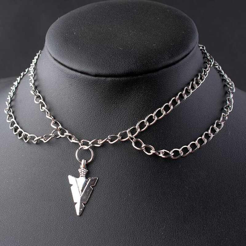 Wielowarstwowy naszyjnik Pentagram naszyjnik ze strzałą trójkątny słońce nietoperz Choker ptak czaszka życie zawieszki choinkowe Ohm Gothic Hip hop biżuteria