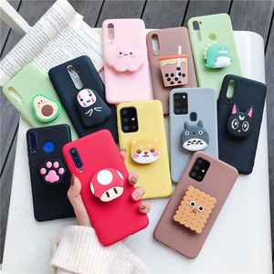 3D silicone cartoon phone holder case for samsung galaxy a51 a71 4G 5G A50 A30 A40 A20 A10 A70 A7 2018 m30s cute soft cover