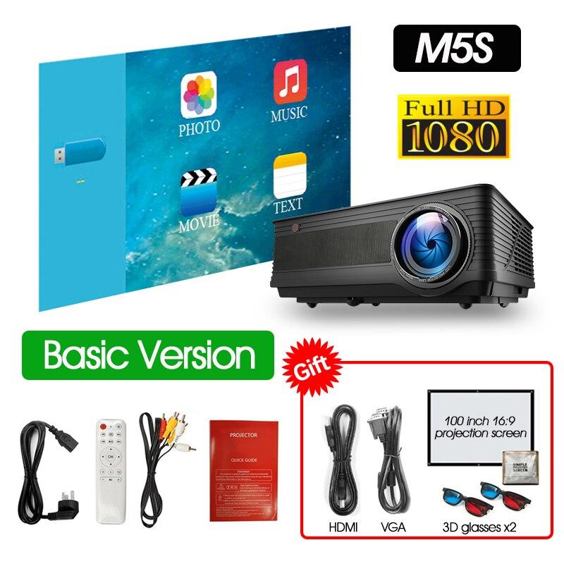 ALSTON M5 M5W Full HD 1080P проектор 4K 6500 люмен кинопроектор проектор Android WiFi Bluetooth hdmi VGA AV USB с подарком - Цвет: M5-HD