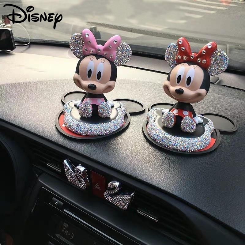 Disney mickey minnie anime figura boneca acessórios do carro moda bonito dos desenhos animados diamante mickey mouse decoração do carro figura boneca brinquedos